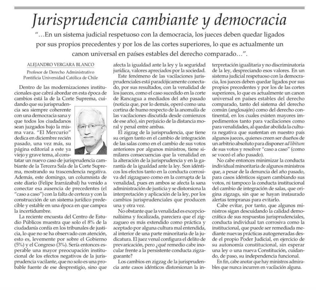 Columna de Opinión El Mercurio 3 febrero 2020